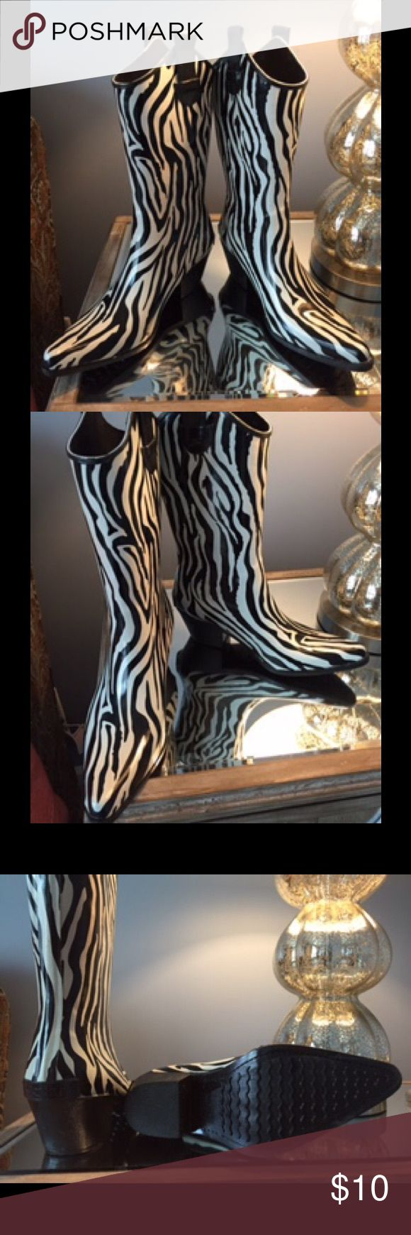 Corkys Zebra Black and White Rain Cowboy Boots Corkys Zebra print New cowboy style rain boots ☔️Size 6 Corkys Shoes Winter & Rain Boots