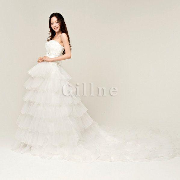 Robe de mariée couverture de moitie avec gradins avec perle de traîne longue de princesse