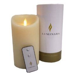Luminara Flameless Candle: Ivory Frosted Finish, Fresh Scent Moving Flame Candle with Timer, Remote Control