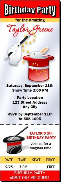 Magician Birthday Party Ticket Invitation Kids Magician Birthday - party ticket invitations