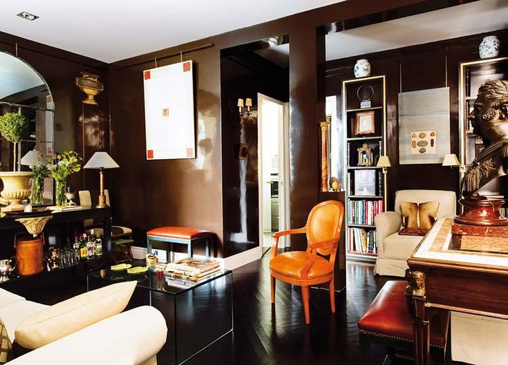 Gilded accents dark chocolate painted walls laquer black - Black and cream living room decor ...