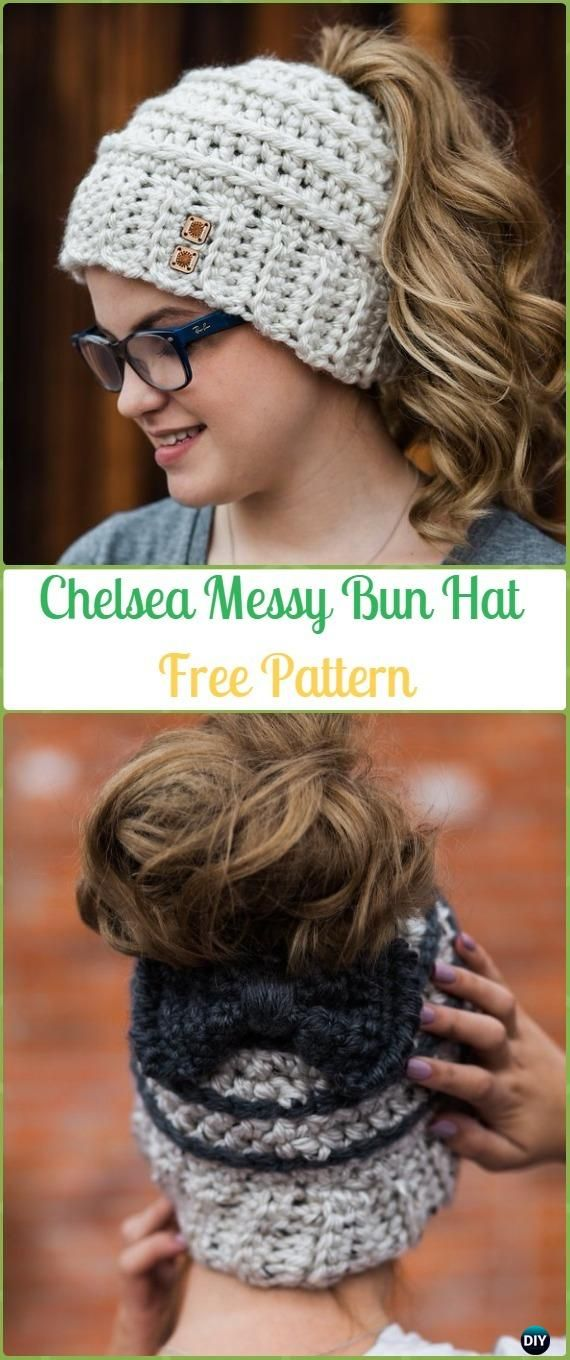 Crochet Chelsea Messy Bun Hat with Bow Free Pattern - Crochet Ponytail Messy Bun Hat Free Patterns & Instructions
