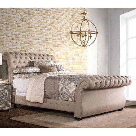 Hillsdale Bombay Upholstered Sleigh Bed - Linen Stone, Beige