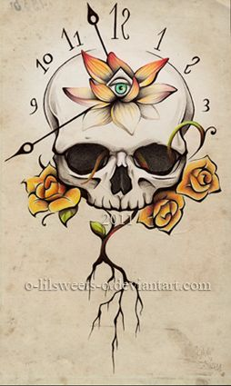 Time and skull by o-LilSweets-o #skulls #clock