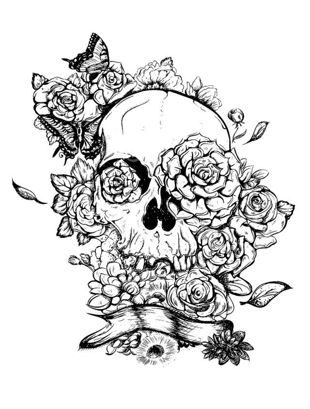 21+ Pretty Image Of Adult Coloring Pages (With Images) Skull