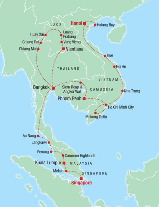 Thailand to Malaysia and route through Malaysia to Singapore.... misses Perhentian Islands