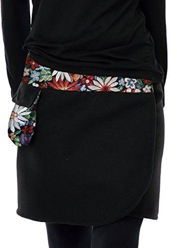 Wickelrock knielang mit Klettverschluss schwarz Zauber Blume kurz / Sommer-Rock hergestellt in Berlin von 3 Elfen S-4XL, Mini-rock: Amazon.de: Bekleidung