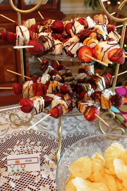 Angel Food Cake and Strawberry Skewers
