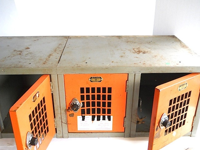 Mid Century Athletic Lockers, Orange Metal Industrial Decor, Storage Unit Vintage, Teen Trends, City School Lockers, Steel, Autumn Colors. $79.00, via Etsy.