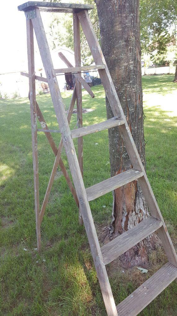 Vintage Painters Ladder, 5 Rung Ladder, Tall Ladder, Old Ladder, Vintage Wood Ladder, Farmhouse Antiques, Wedding Decor, Folding Ladder 1