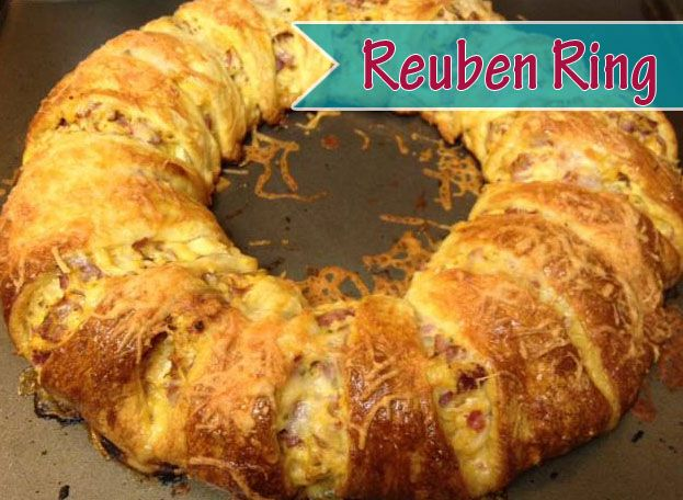 Pampered Chef Reuben Ring. All the flavors of a classic Reuben sandwich wrapped up in a flaky crescent roll crust. Whip it up in a couple of minutes, bake 25 minutes, and it's ready. There are NEVER leftovers.