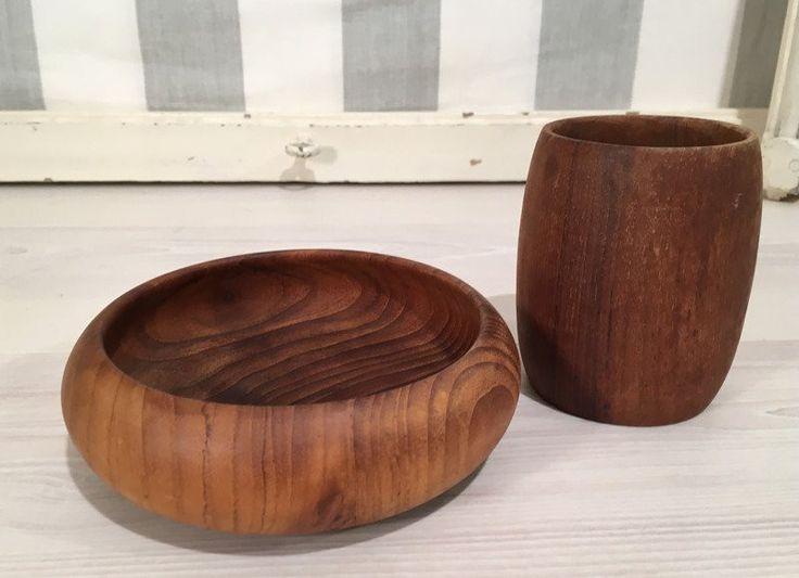 Vintage Schalen - Schale und Vase/Becher aus Holz *Mid Century - ein Designerstück von Mid-Century-Frankfurt bei DaWanda