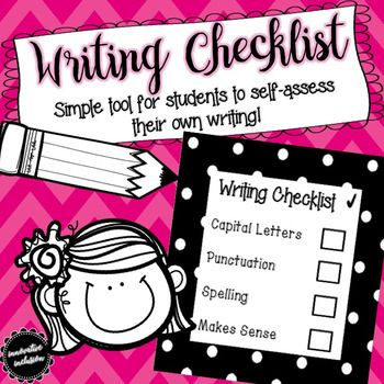Students can use this writing checklist to self-assess their own writing by checking if their writing correctly included components such as, capital letters, punctuation, spelling, and also if it made sense. This FREEBIE includes: 3 different sizes of the checklist with an easy to print black and white polka dot borderIn my inclusion classroom, each of my students have a small laminated version of this checklist on their desks to support their writing development and promote daily…