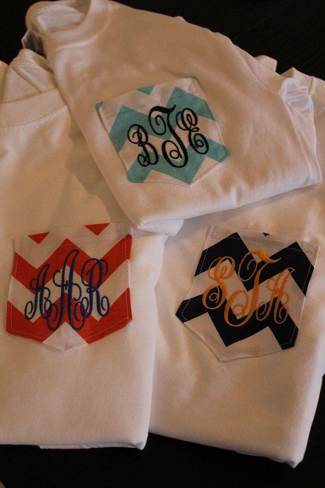 Monogrammed Pocket T-Shirt. $24.00, via Etsy for Mary!