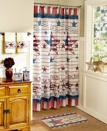 Show your patriotism by decorating with this Americana Bathroom Collection. Each coordinating piece features a paneled-wood look with stars, stripes and patriotic phrases.