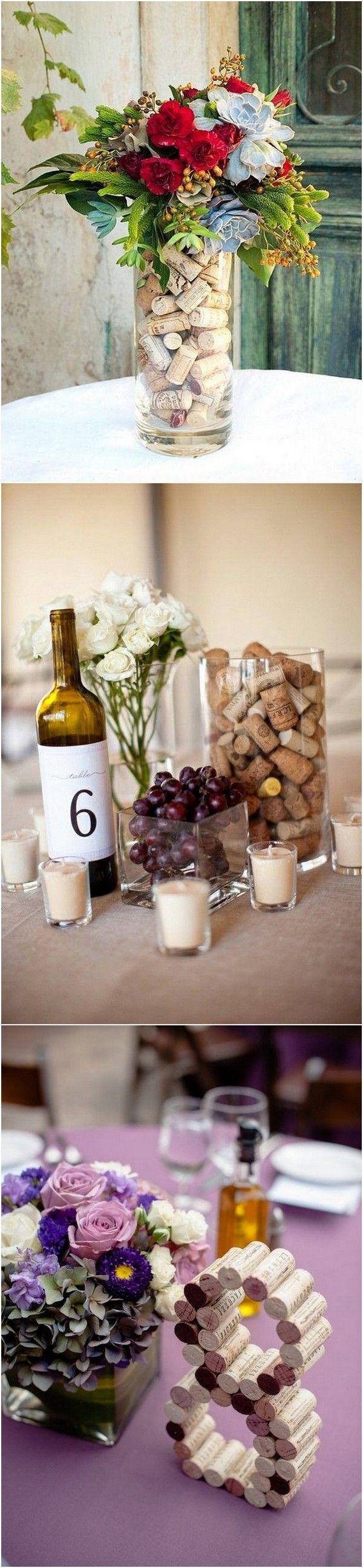 wine themed wedding centerpieces with wine corks #weddingideas #weddingdecor #weddingtrends #weddingthemes #vineyardwedding #weddingaisle #weddingceremony