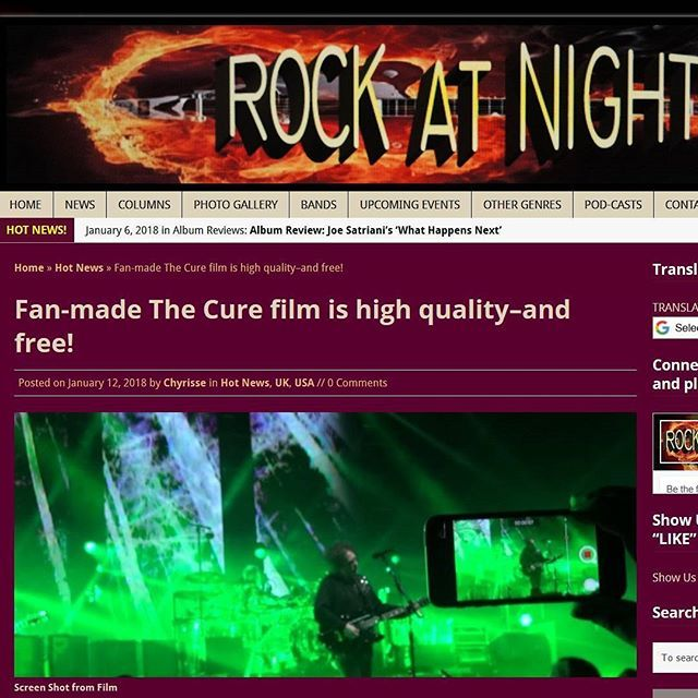 """Fan-made The Cure film is high quality - and free!"" at Rockatnight.com @rockatnightmagazine  #TheCure #Lodz #Multicam #free #fan #film #project #RobertSmith #rock #pop #indie #goth #alternative #postpunk #80s #90s #music #video #instamusic #concert #live #press #portal #article #american #usa #english @robertsmith @thecure @martinmarszalek"