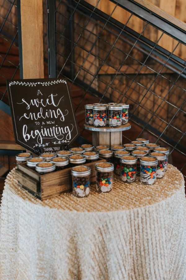 """""""A sweet ending to a new beginning"""" wedding favour display sign 