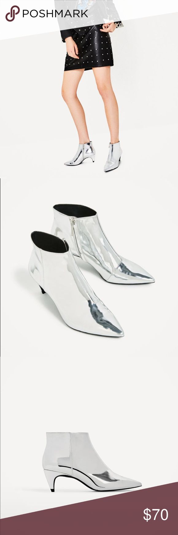 "Zara silver ankle boots - NWT!! Zara silver pointed ankle boots - NWT!! Silver laminated finish. Interior zip fastening. Heel height: 2.2"". Upper: 100% polyurethane thermoplastic. Lining: 80% polyurethane, 20% polyester. Sole: 100% polyurethane thermoplastic. Slipsole: 100% goat leather. Smoke-free home 😊 Zara Shoes Ankle Boots & Booties"