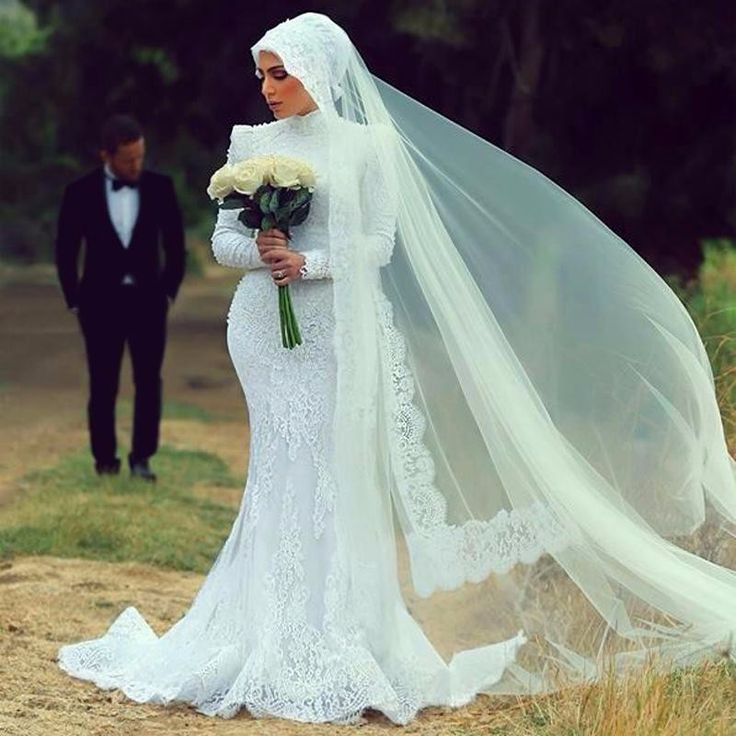 elegant hijab wedding dresses 2017 high neck long sleeve appliques lace mermaid bridal gown marry party gown vestido de novia