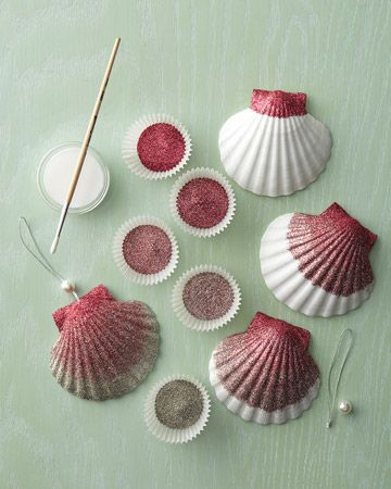 seashell crafts | Ombre Glittered Seashell Ornaments