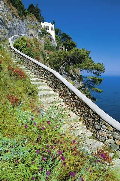 Phoenician staircase which once linked Capri to Anacapri Italy