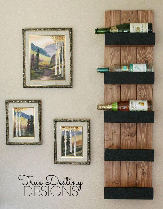 5 bottle wall hanging wine rack holder by TrueDestinyBoutique