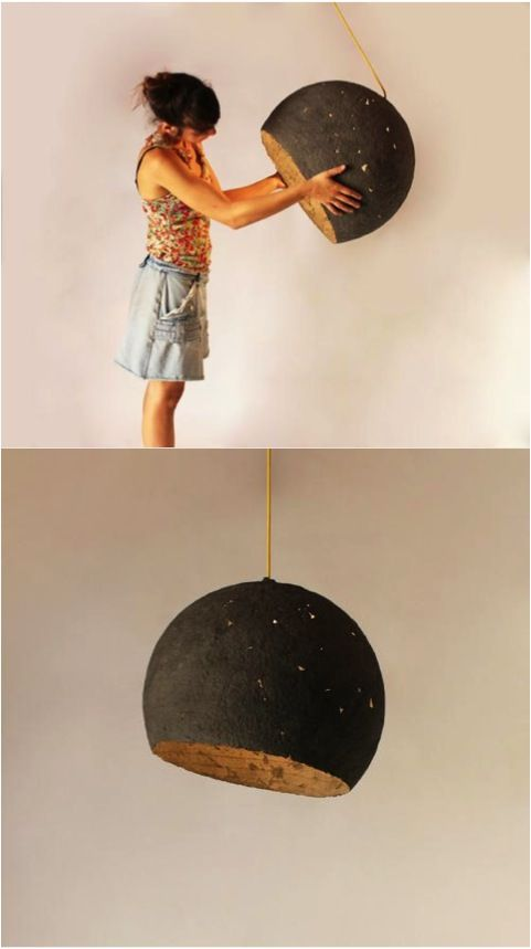 It's not so hard to bring the moon and stars inside anymore with this stunning paper mache hanging lamp | Made on Hatch.co by independent makers & designers