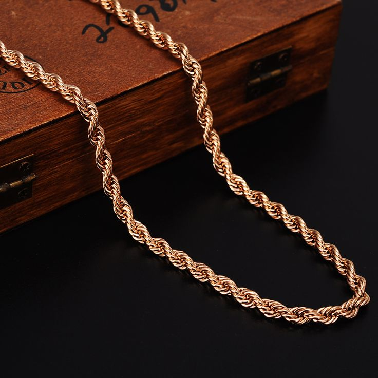 Bangrui Rose Gold Rope Chains For Men Necklace Trendy Men Jewelry Twisted Singapore Chain Venitien Chain Women Necklace