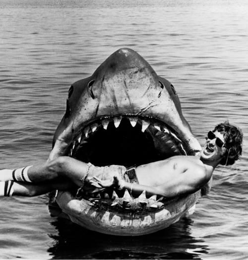 Steven Spielberg on a set of Jaws - my son's favourite film although rapidly being overtaken by Bourne adventures