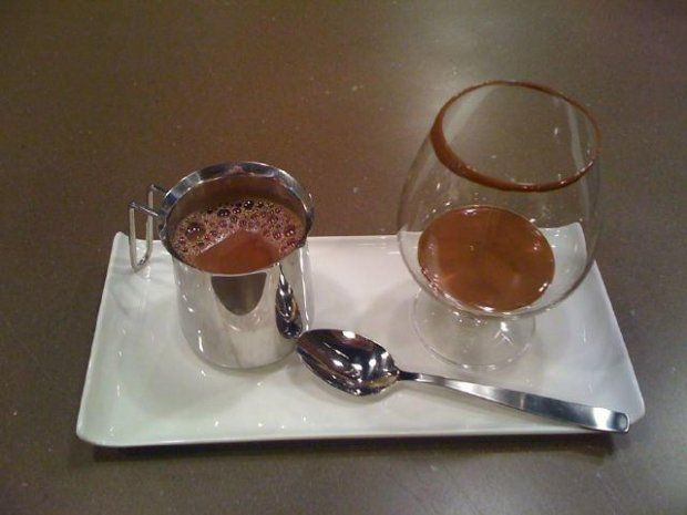 At Montreal's Cacao 70, chocolate is served melted in a snifter with a side of more common American-style hot chocolate that you can add to the glass.