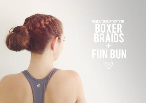 Boxer Braid + Fun Bun – #Boxer #boxerbraids #Braid…