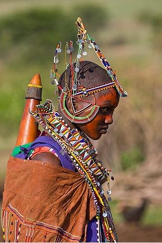 Africa | Wedding dress for young Masai woman.  Kenya | © Darrel Gulin