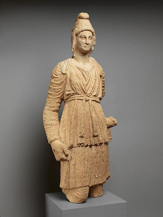 Limestone statue of Artemis Bendis. Period: Hellenistic Date: ca. 3rd century B.C. Culture: Cypriot