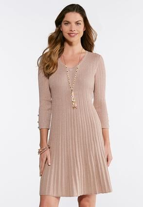 2ee5e09a0a7 Cato Fashions Plus Size Ribbed Rose Gold Dress  CatoFashions