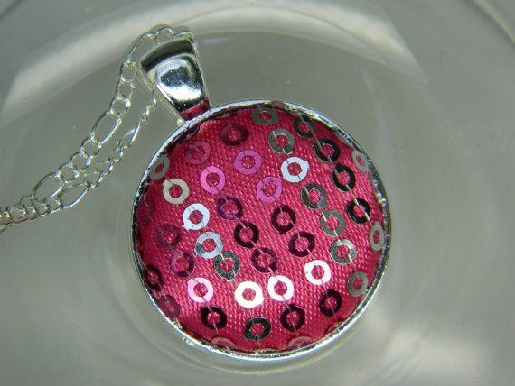 MetalFuchsia fabric covered button pendant by LittleRubyAtom