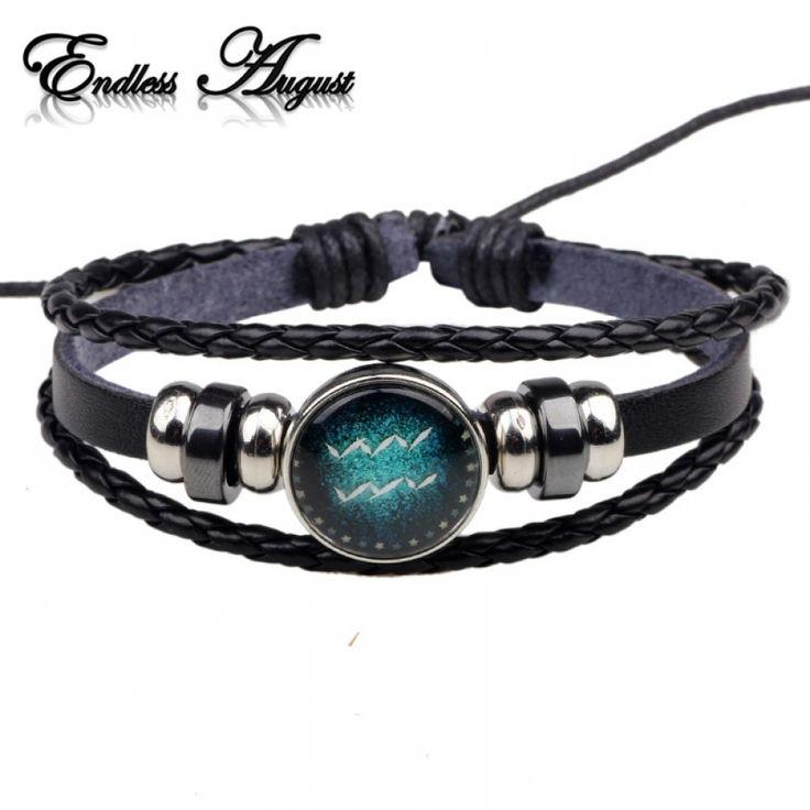 Fashion Buckles 12 Zodiac Signs Bracelets & Bangles Handmade Vintage Punk Leathe…   – Bracelets & Bangles