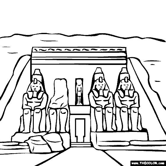 Abu Simbel Temple Egypt Coloring Page Mystery Of History