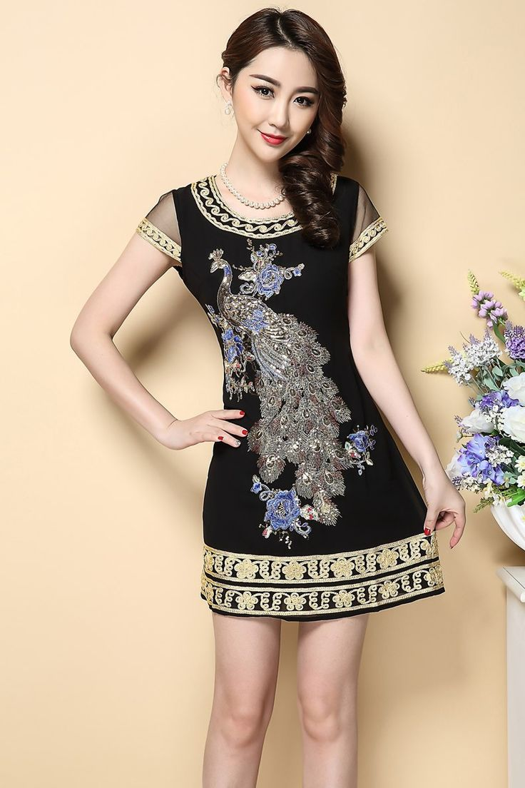 Феникс вышитые Летнее платье 2015 высокое качество вышивки блестками плюс размер 4xl платья женские короткие черные платья женщин купить на AliExpress