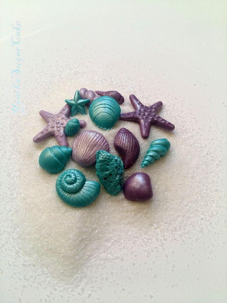 Fondant seashells Under the sea gumpaste decorations Cake cupcake topper Starfish Shells edible Nemo Ariel Moana Wedding favor shower Baby by YanchaSugarCake on Etsy