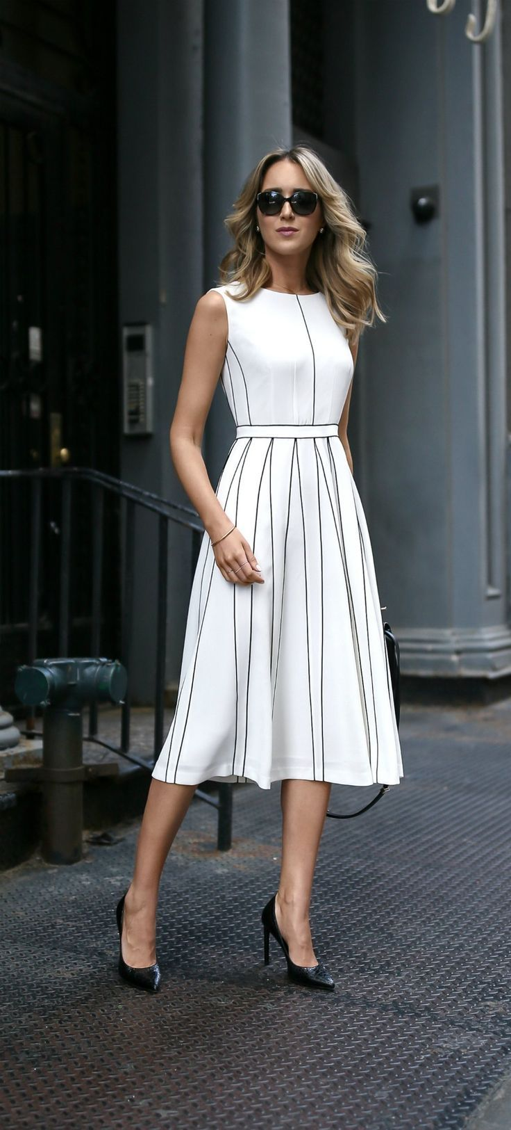 53b8a2f66fc white pleated sleeveless a-line midi dress with black piping illusion pleats     classic summer style    perfect for the office or any special event!