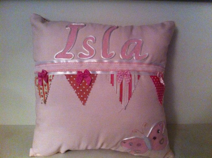 Girls named bunting cushion