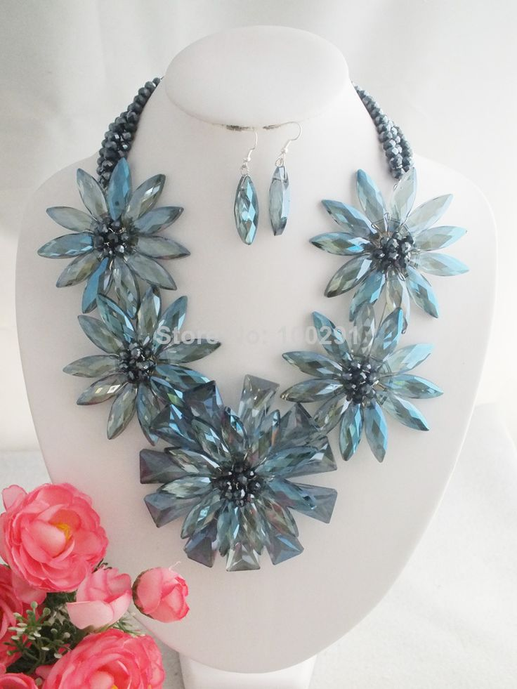A-1763 Free Shipping !! Newest Beautiful African Flower Crystal Beads Jewelry Set Fit Wedding $73.69