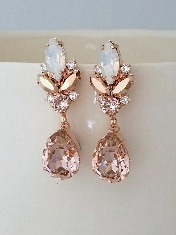 Bridal earrings,Blush earrings,White opal earrings,Rose gold earrings,chandelier earrings,Morganite earrings,Vintage earrings,wedding earrin