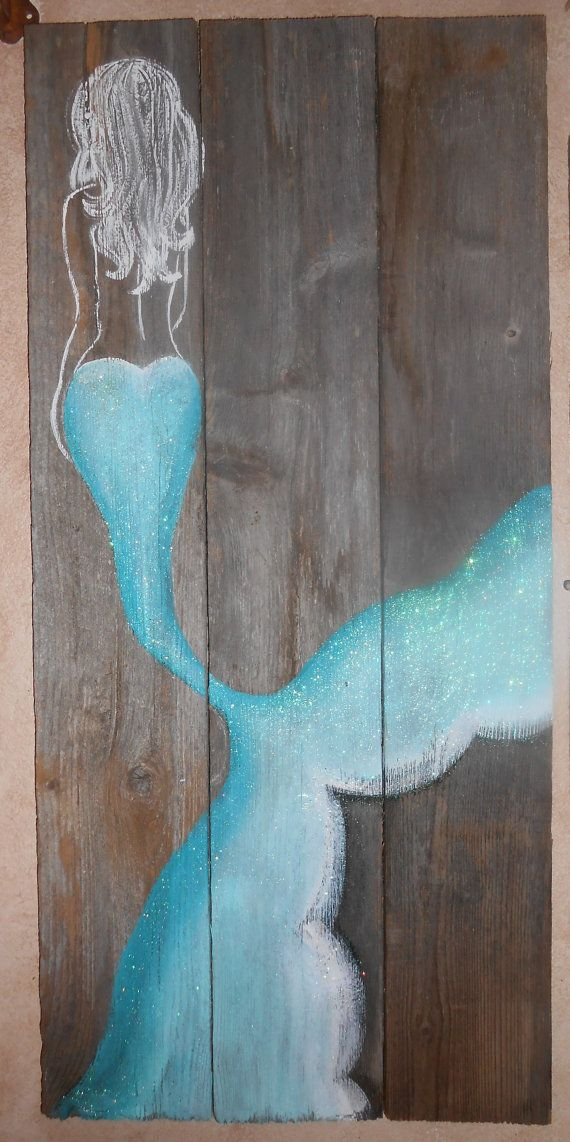 Personalized Mermaid on Reclaimed Barnwood, Beach, Glittered, Hand Painted Sign…