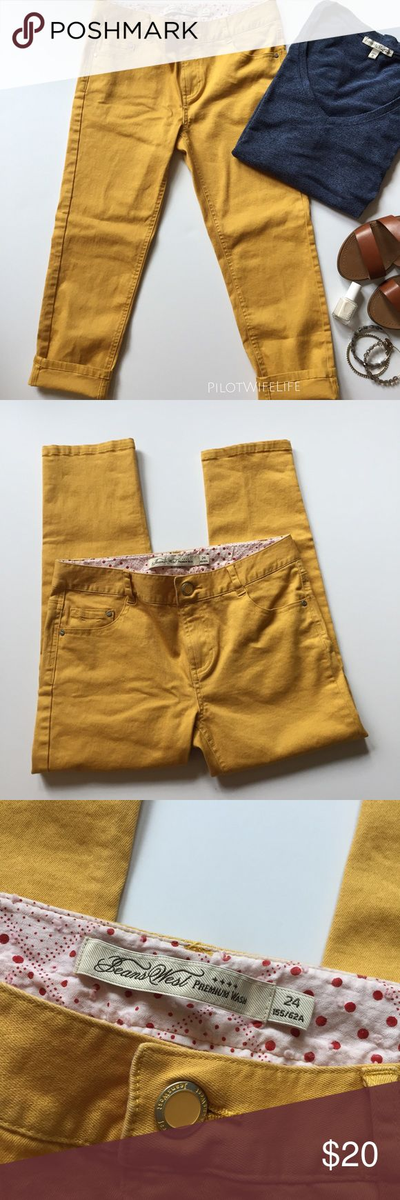 """Marigold Cropped Skinny Jeans Marigold mustard colored cropped skinny jeans. I picked those up in New Zealand (hence not a well-known American brand) but sadly they no longer fit. I only wore them 2 or 3 times. Inseam is 21.5"""". Excellent condition. Some stretch in the fabric. Jeans West Jeans Ankle & Cropped"""