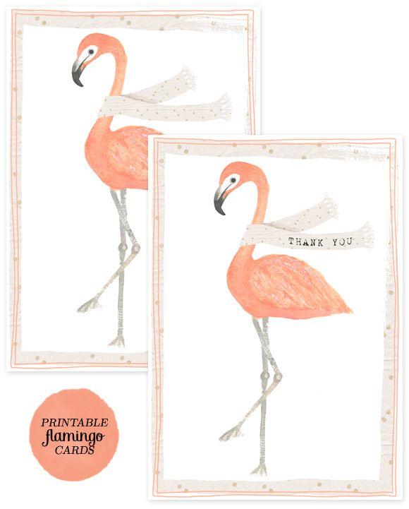 printable & downloadable flamingo thank-you cards