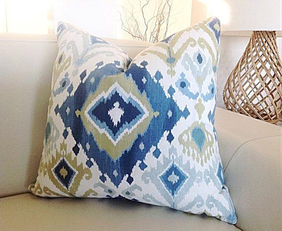 Boho Cushions Coastal Cushions Bohemian Beach Pillow Blue Designer Cushion Tropical pillowsResort a style Decor, Scatter Cushions