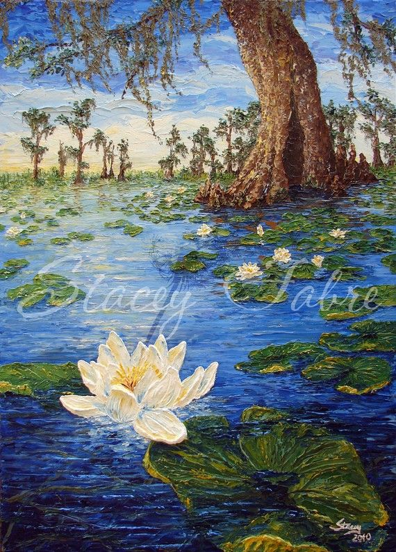 Swamp with Water Lillies matted to fit 16x20 by StaceyFabre - Houma, LA impasto artist