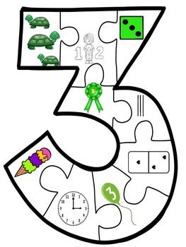 Representing the Number Three (9 piece puzzle)   Resource Ranch